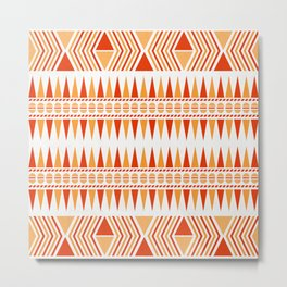 052 Traditional orange and red navajo pattern interpretation Metal Print