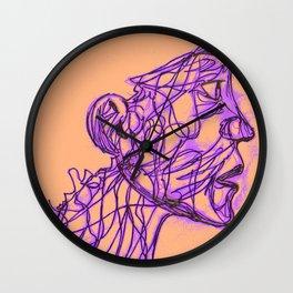 Face Full Of Lines ORANGE Wall Clock