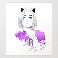 meow Art Prints featuring MEOW  by Sara Eshak