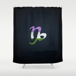 Genderqueer Pride Flag Capricorn Zodiac Sign Shower Curtain