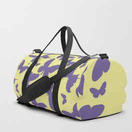 Ultra violet heart shape made from butterfly silhouettes. Duffle Bag