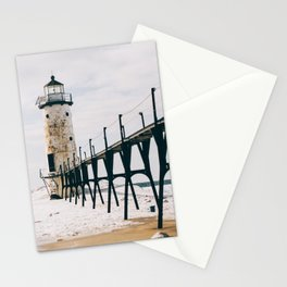 Manistee Lighthouse In Winter Stationery Cards