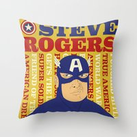 steve rogers Throw Pillows featuring Steve Rogers/Captain America by Joseph Rey Velasquez