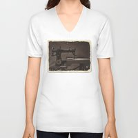 sewing V-neck T-shirts featuring Pfaff Sewing Machine by Rainer Steinke