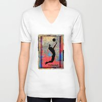 volleyball V-neck T-shirts featuring Volleyball Girl by beeczarcardsandgifts