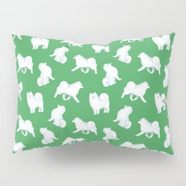 Samoyed Pattern (Green Background) Pillow Sham