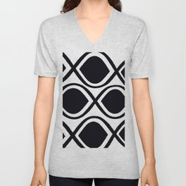 BLACK AND WHITE RANDOM GRAPHIC Unisex V-Neck