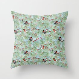 bullfinches and winter plants Throw Pillow