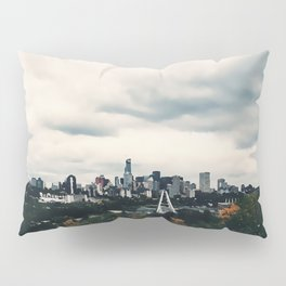 Edmonton Alberta, Digital Painting of a Very Cloudy Downtown just Before an Autumnal Storm Pillow Sham