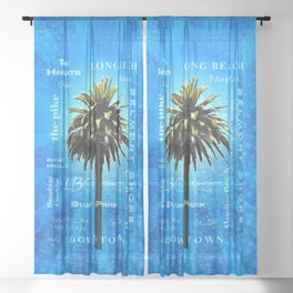 Long Beach, California - Palm Tree -  Pop Art Sheer Curtain