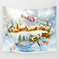 merry christmas Wall Tapestries featuring Merry Christmas by Looly Elzayat
