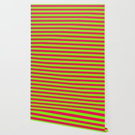 Super Bright Neon Pink and Green Horizontal Beach Hut Stripes Wallpaper