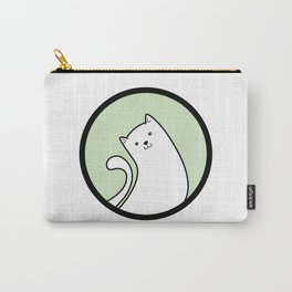 Little White Derpy Kitty Carry-All Pouch