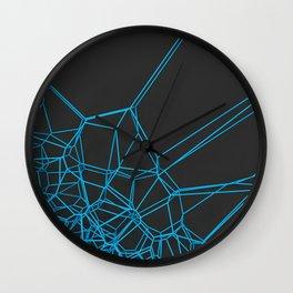 Blue voronoi lattice on black background Wall Clock