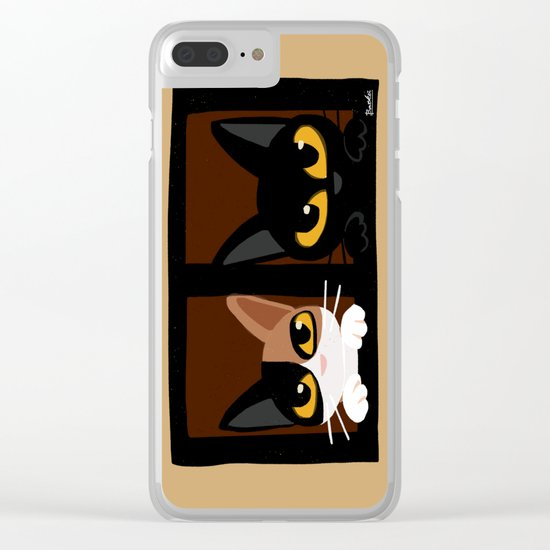 Lovely two cats Clear iPhone Case
