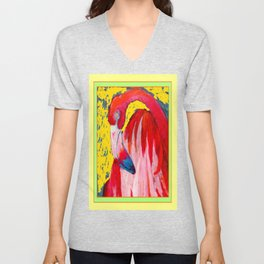 Modern Yellow Art  Flamingo Preening Design Unisex V-Neck