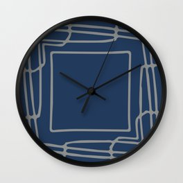 Decorative blue and grey abstract squares Wall Clock