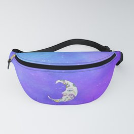 White Fantasy Crescent Moon Colorful Markings Fanny Pack