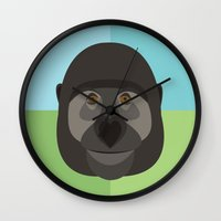 gorilla Wall Clocks featuring Gorilla by Amy Newhouse