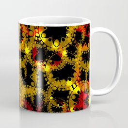 abstract glowing pattern of gears and spheres in red gold on a black background for fabrics o Coffee Mug