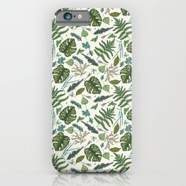 Green leaves pattern iPhone Case