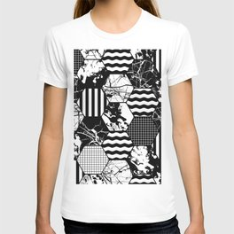 Hexual - Black and white, honeycomb, hexagon pattern, stripes, paint splats, grid and marble T-shirt