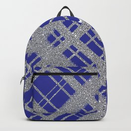 Silver Glitter Plaid on Blue Graphic Design Pattern Backpack