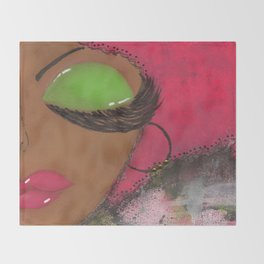 Pink and Green Sassy Girl Throw Blanket