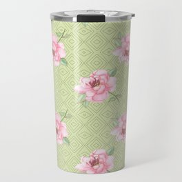 Pink peonies on blackground green Travel Mug