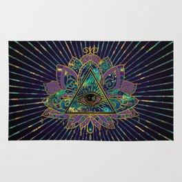 All Seeing Mystic Eye in Lotus Flower Rug