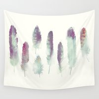 feathers Wall Tapestries featuring Feathers // Birds of Prey by Amy Hamilton