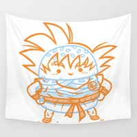 goku Wall Tapestries featuring Cheeseburger Goku by Philip Tseng