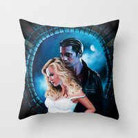 true blood Throw Pillows featuring True Blood - Sookie & Eric by Jaime Gervais