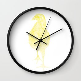 chick drawing, yellow Wall Clock