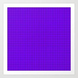 Purple Grid Black Line Art Print