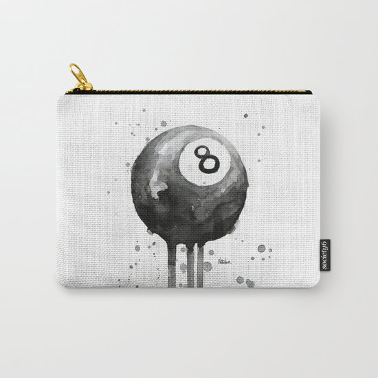 8-Ball Watercolor Black Pool Billiards Eight Ball Art Carry-All Pouch