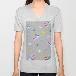 Snowflakes & Pair Snowman_A Unisex V-Neck