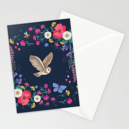 Owl and Wildflowers Stationery Cards