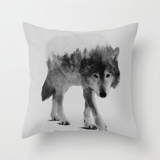 Wolf In The Woods (black & white version) Throw Pillow
