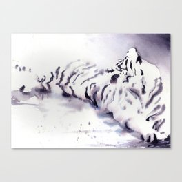 Watercolor painting of tiger lying on ground.  Tiger art watercolor painting Canvas Print