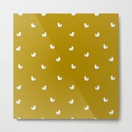 White birds in mustard orange Metal Print