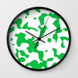 Large Spots - White and Dark Pastel Green Wall Clock