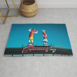 Vintage Superdawg Drive-In Sign and Mascots Chicago Illinois Icon Rug