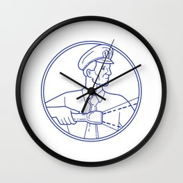 Security Guard Flashlight Circle Mono Line Wall Clock