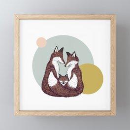 Fox Family with Circles Framed Mini Art Print