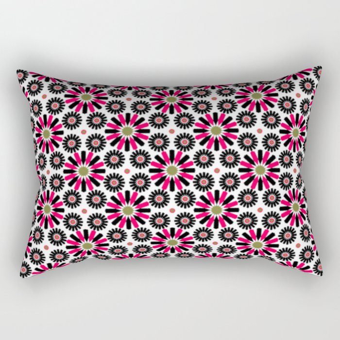 Small Hot Pink and Black Flowers Rectangular Pillow