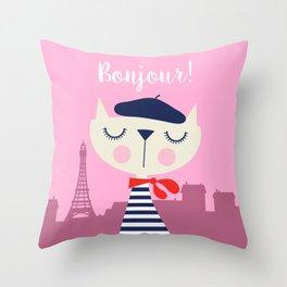 Bonjour Kitty! Throw Pillow