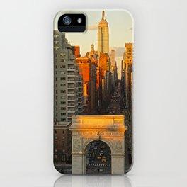 Sunset over Washington Square Park iPhone Case