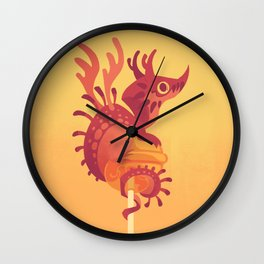 Dragonpop alebrije cherry orange Wall Clock