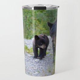 Black bear family takes a stroll Travel Mug